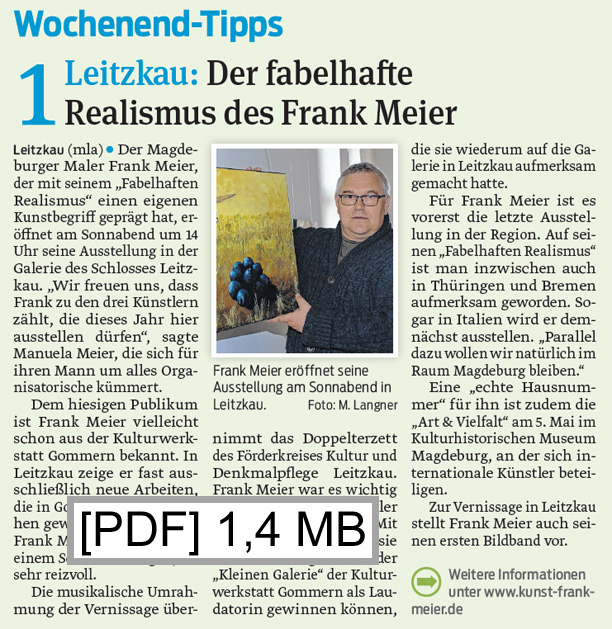 Artikel über Frank Meier in der Burger Rundschau am 26. April 2018